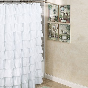 Maribella White Shower Curtain