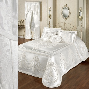 Lisette Satin Chenille Bedding in White