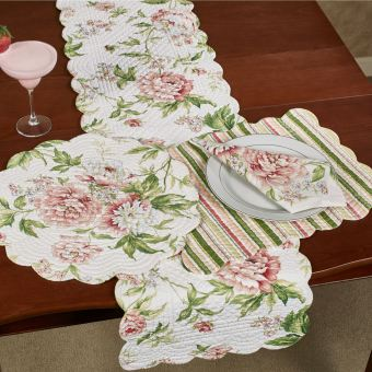 Pink Brianna Floral Table Linens