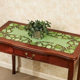 Foliage Green Cutwork Table Runner