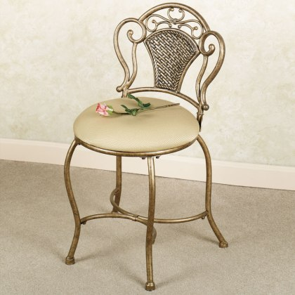Upholstered Vanity Chair with Flower