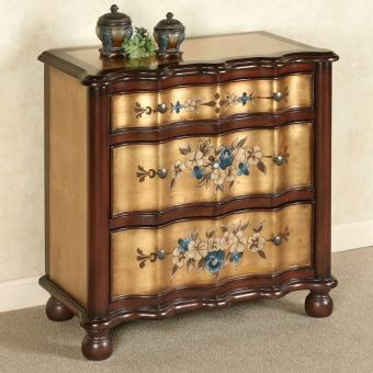 Majestic Marvels Gold Floral Storage Cabinet