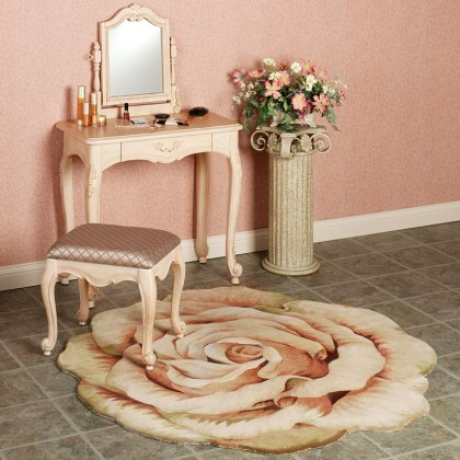 Flower Shaped Rug at Vanity