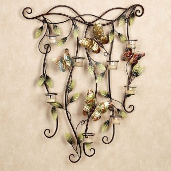 Fluttering Beauties Tealight Candelabra Wall Art