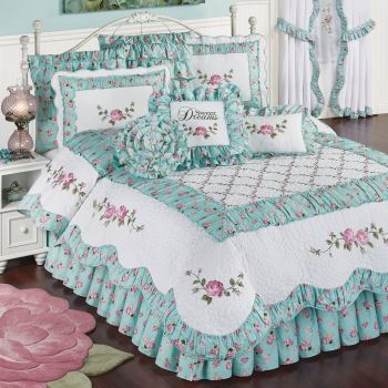 Rose Garden Aqua and Pink Bedding