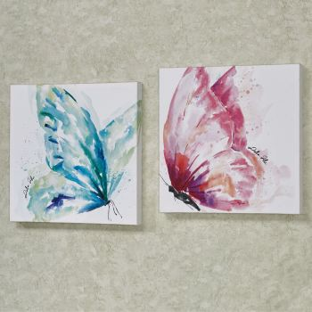 Watercolor Butterfly Aqua and Pink Wall Art