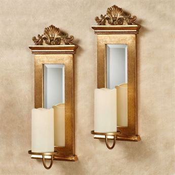 Acanthus Mirrored Wall Sconce Set