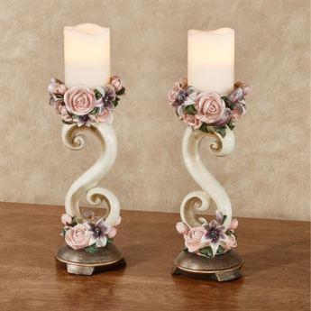 Summer Florals Candleholder Pair