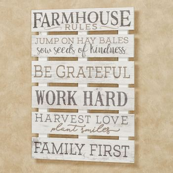 Farmhouse Rules Wall Plaque