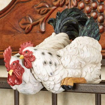 Rooster and Hen Shelf Sitter