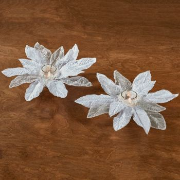 White Poinsettia Votive Candleholder Set