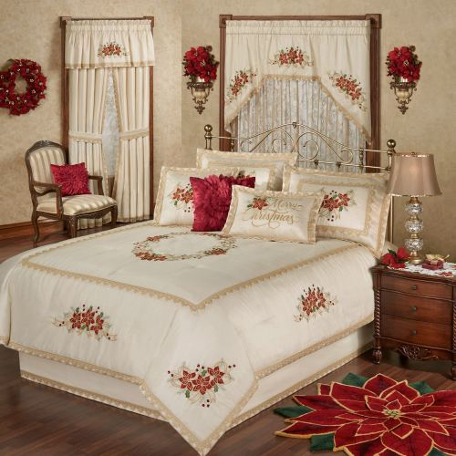 Poinsettia Palace Holiday Bedding