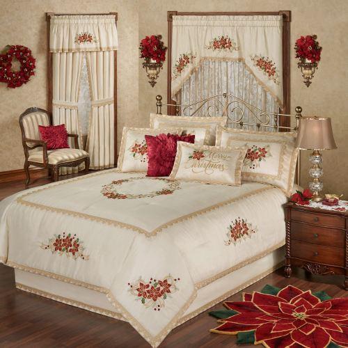 Poinsettia Palace Holiday Bedding