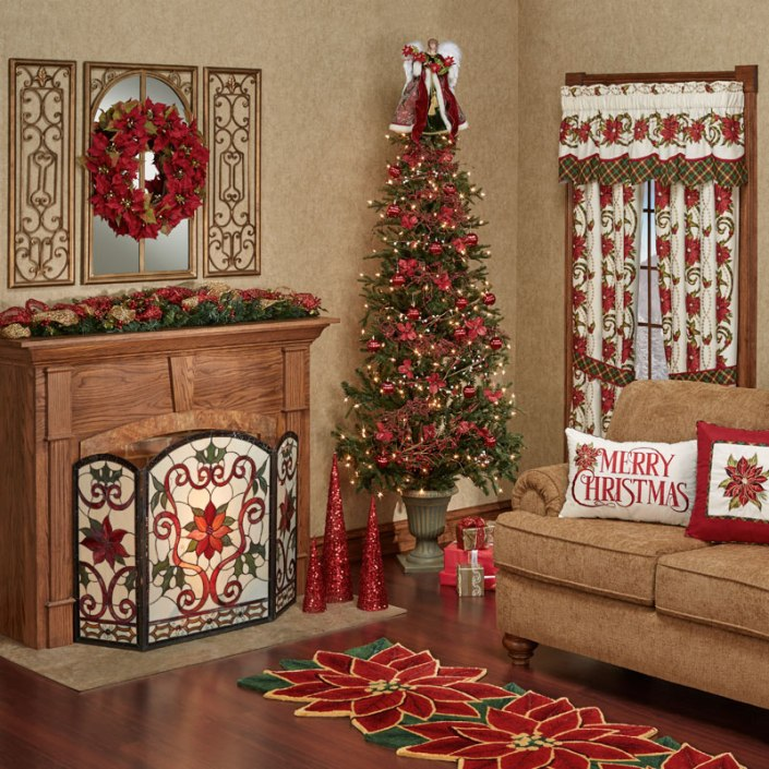 Poinsettia Holiday Living Room