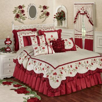 Red Rose Floral Comforter Bedding