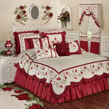 Red Rose Floral Comforter Bedding