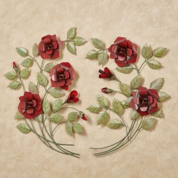 Red Rose Metal Wall Art