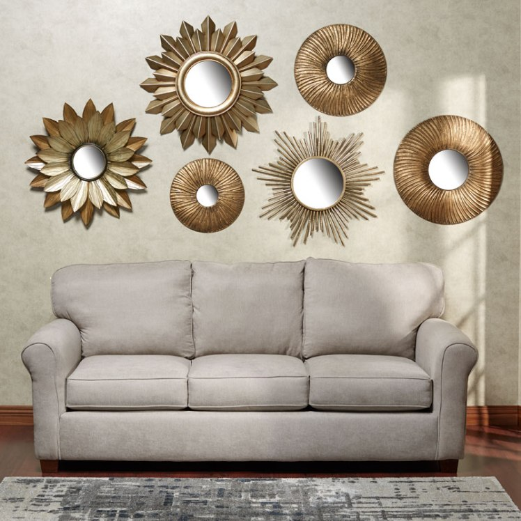 Decorate Above The Sofa With A Mirrored Wall Art Collage A Home Like No Other