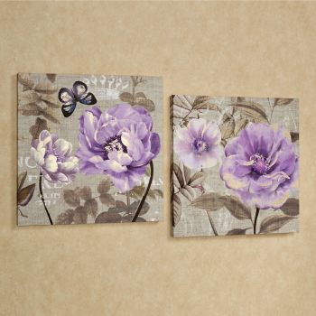 Floral Delight Purple Flower Canvas Wall Art Set