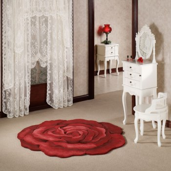 Red Rose Flower Shaped Rug