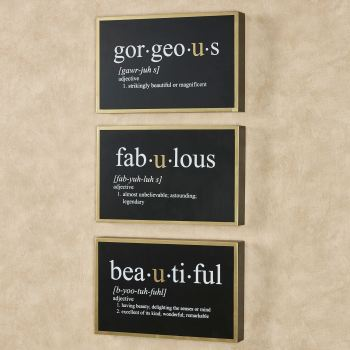 Fabulous Gorgeous Beautiful Word Wall Art Set