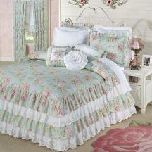 Cottage Rose Floral Ruffled Bedspread
