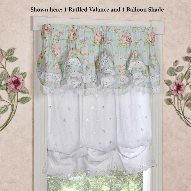 Cottage Rose Balloon Shade and Ruffled Valance