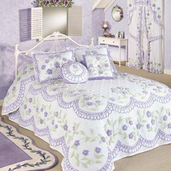 Cottage Garden Lavender Chenille Bedspread