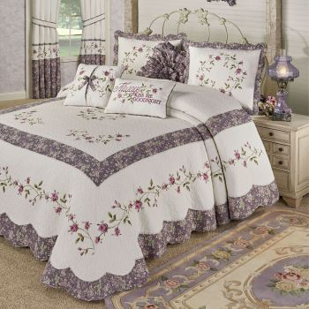 Ambrosia Embroidered Floral Bedspread