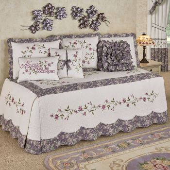 Ambrosia Embroidered Floral Daybed Bedding