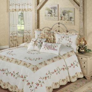 Honeysuckle Embroidered Floral Bedspread