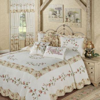 Honeysuckle Embroidered Floral Bedspread