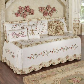 Honeysuckle Embroidered Floral Daybed Bedding
