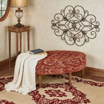Vivian Burgundy Cushioned Oval Bench