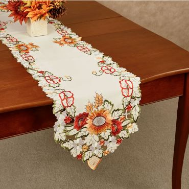 Sunflowers and Poppies Fall Table Runner