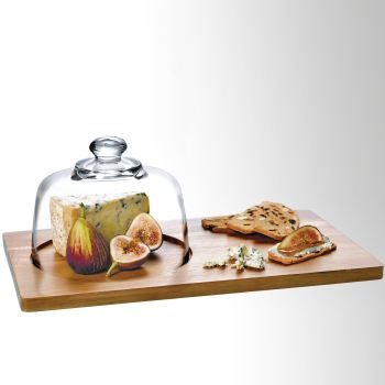 Calvina Tray and Glass Dome Cloche Serving Set
