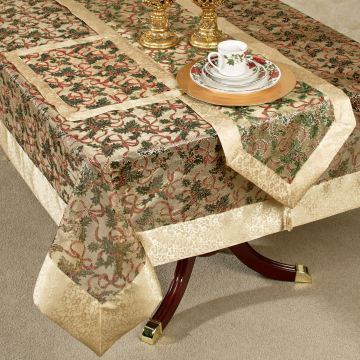 Holly Ribbon Sheer Table Linens