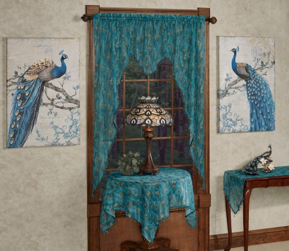 King Peacock Valances and Table Linens