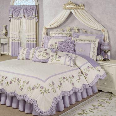Lavender Rose Floral Comforter Bedding