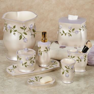 Enchanted Rose Lavender Floral Bath Accessories