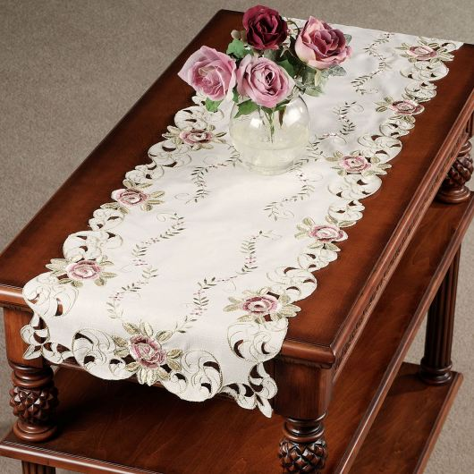 Bella Rose Embroidered Table Runner