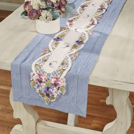Purple Pansies Floral Table Runner