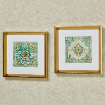 Square framed wall art set with cool-toned medallion designs