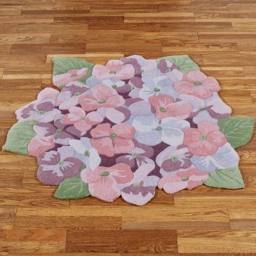 Floral Dance Hydrangea Flower Shaped Rugs