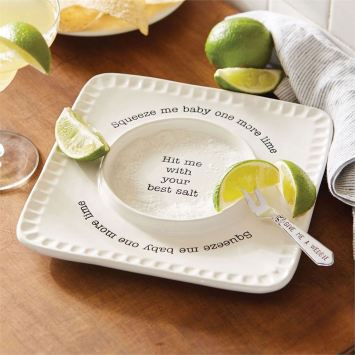 Margarita salt rimmer plate with serving fork