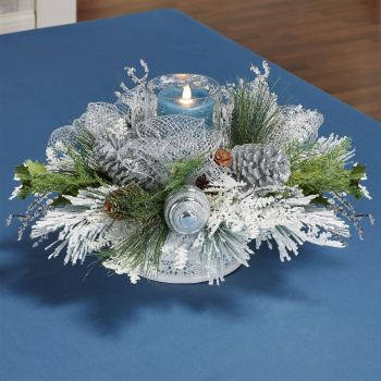 Holiday Elegance Winter Candleholder Centerpiece