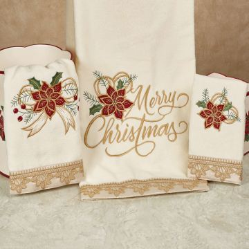 Poinsettia Palace Holiday Bath Towel Set