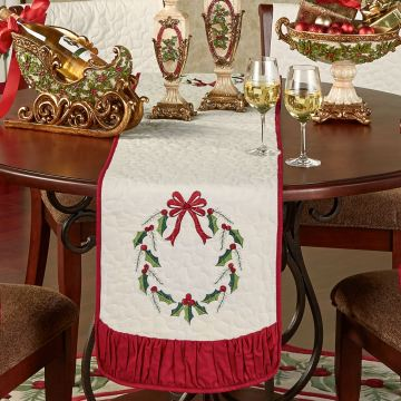 Holly Wreath Table Runner