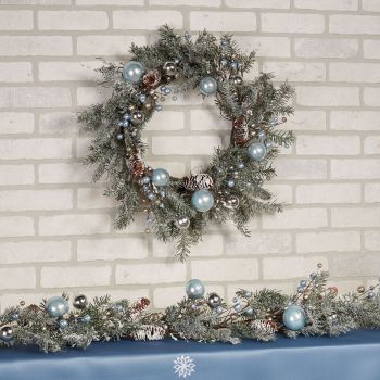 Holiday Ice Flocked Winter Ornament Wreath and Garland