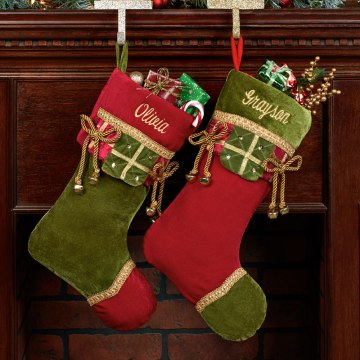 Christmas Present Velveteen Stockings